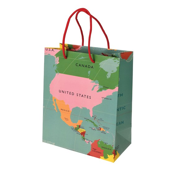 small world map gift bag