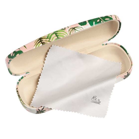 tropical palm glasses case and cloth