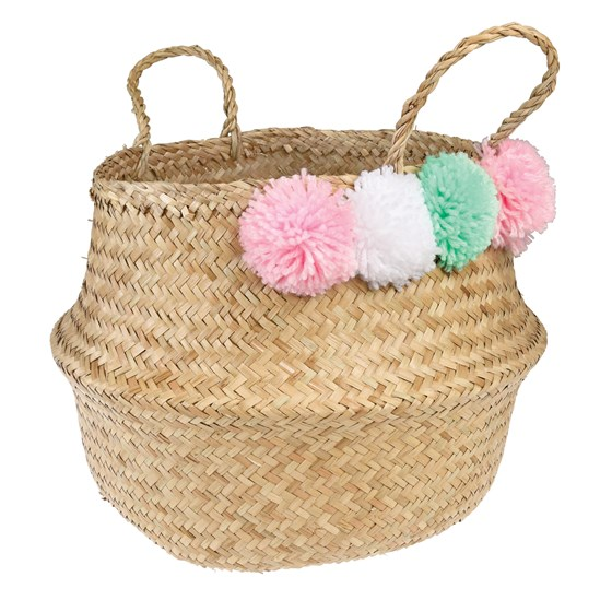 pastel pom pom belly basket