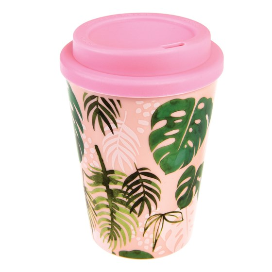 tropical palm reusable travel mug