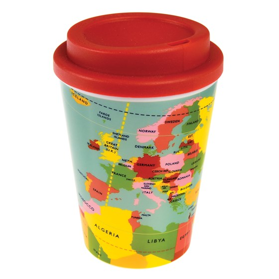 WORLD MAP REUSABLE TRAVEL MUG