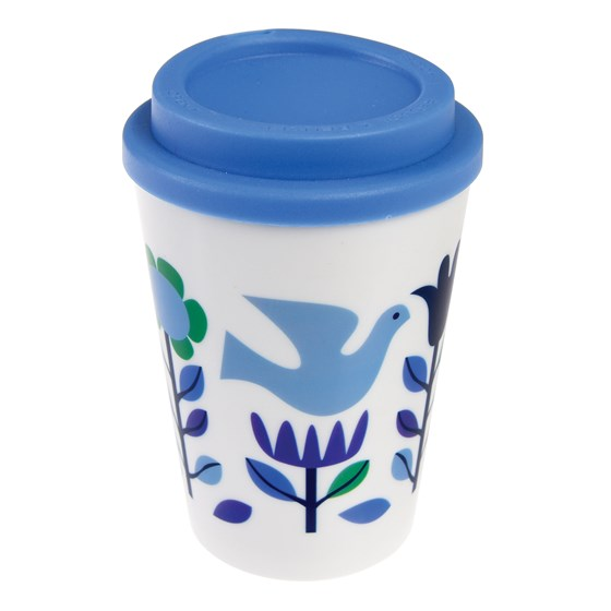 folk doves reusable travel mug