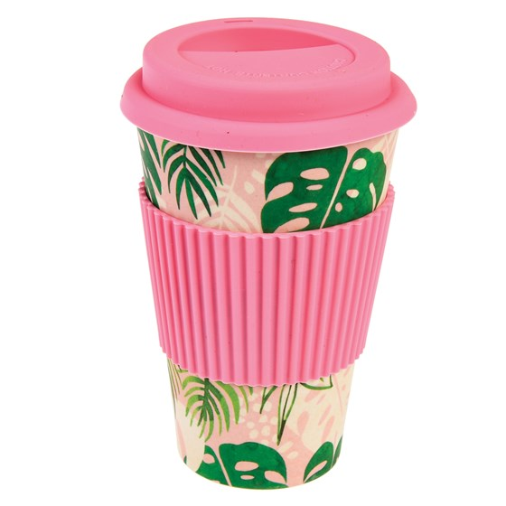 TROPICAL PALM BAMBOO TRAVEL MUG