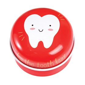 red tooth fairy tin
