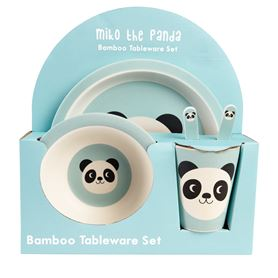 kindergeschirr aus bambusfaser miko the panda (5er set)