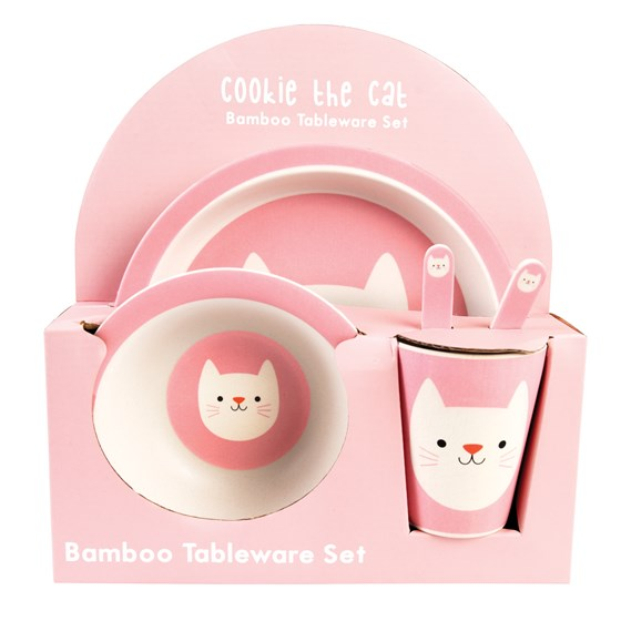 kindergeschirr aus bambusfaser cookie the cat (5er set)
