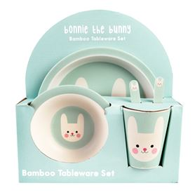 bonnie the bunny bamboo tableware (set of 5)
