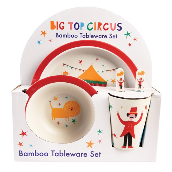 big top circus bamboo tableware (set of 5)