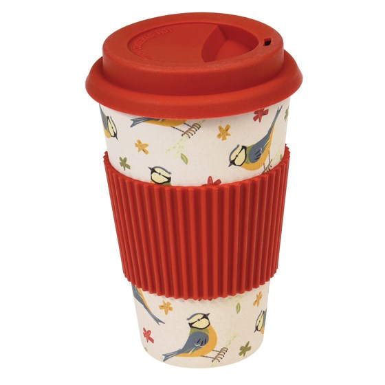 blue tit bamboo travel mug
