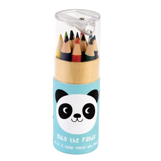 SET OF 12 MIKO THE PANDA COLOURING PENCILS AND SHARPENER