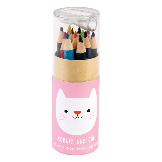 SET OF 12 COOKIE THE CAT COLOURING PENCILS AND SHARPENER