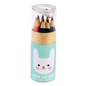set of 12 bonnie the bunny colouring pencils and sharpener