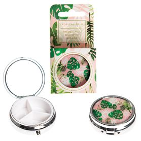 tropical palm pill box with mirror