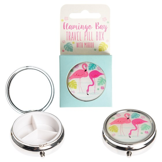 flamingo bay pill box with mirror