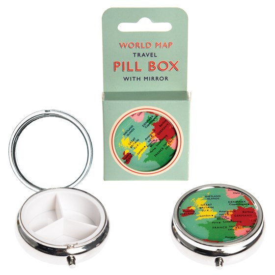 world map pill box with mirror