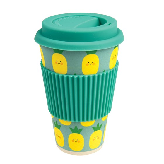 HELLO PINEAPPLE BAMBOO TRAVEL MUG