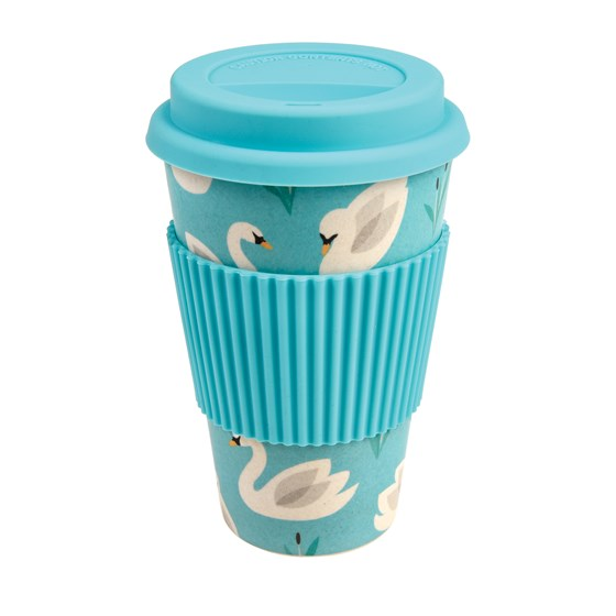 coffee to go - becher aus bambusfasern love swans