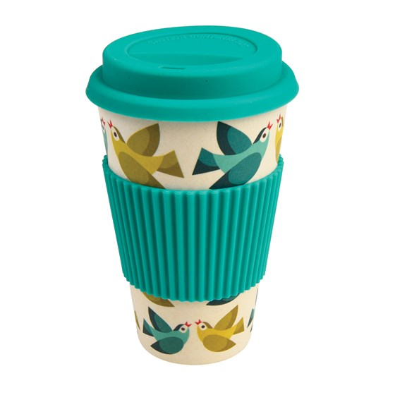 LOVE BIRDS BAMBOO TRAVEL MUG