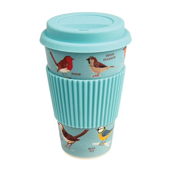 GARDEN BIRDS BAMBOO TRAVEL MUG