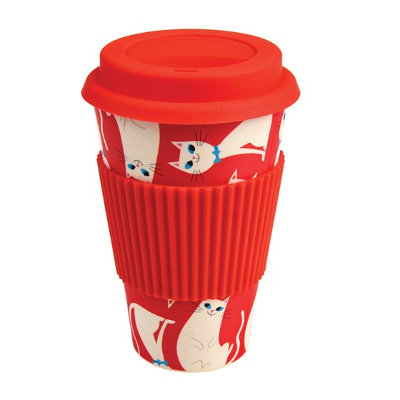coffee to go - becher aus bambusfasern white cat