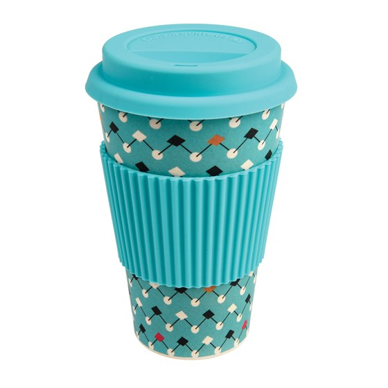 coffee to go - becher aus bambusfasern atomic blue