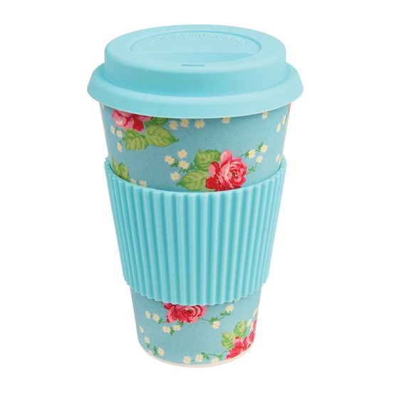 coffee to go - becher aus bambusfasern english rose
