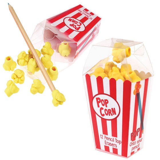 popcorn pencil top erasers (box of 12)