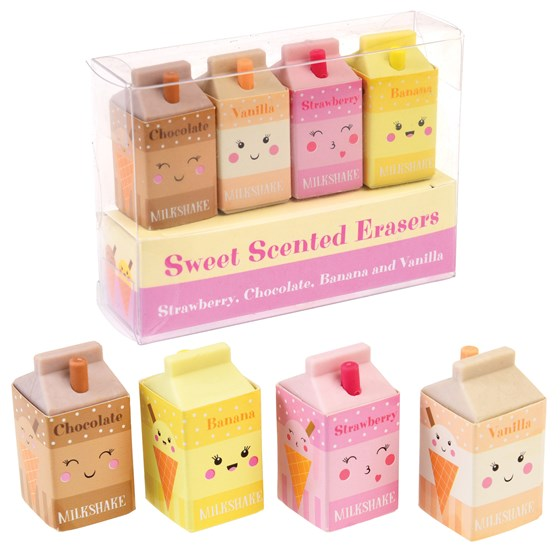 SCENTED MILKSHAKE ERASERS (SET OF 4)