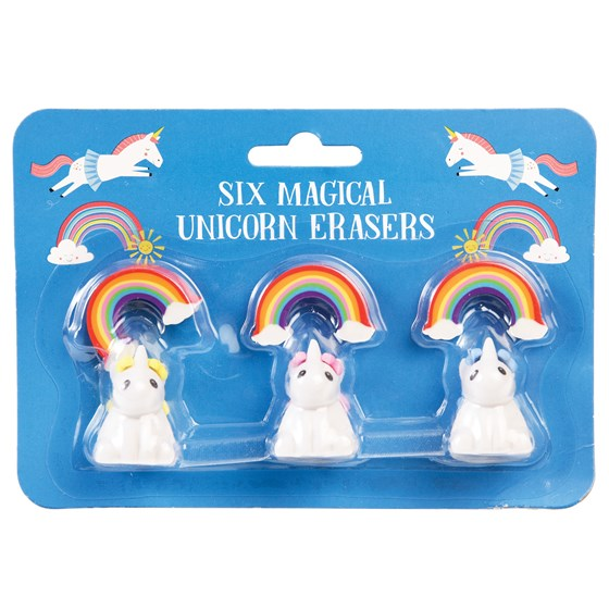magical unicorn erasers (set of 6)