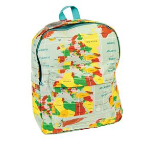 world map cotton backpack