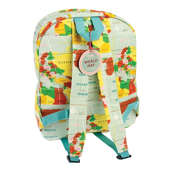 world map backpack