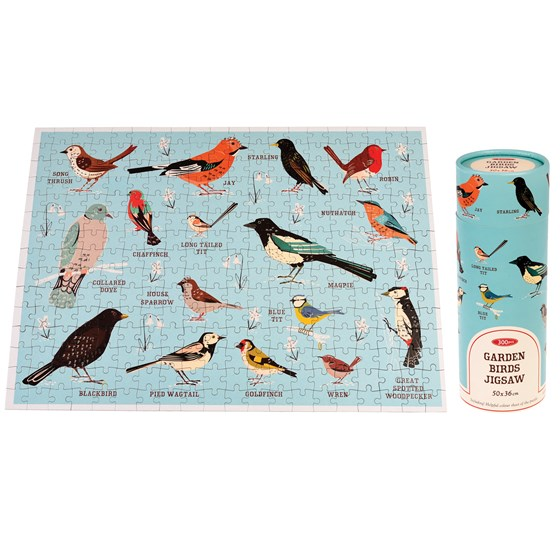 garden birds puzzle in a tube
