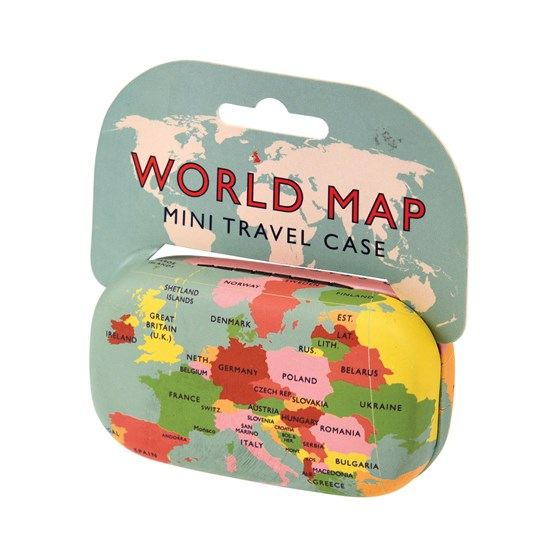 world map mini travel case