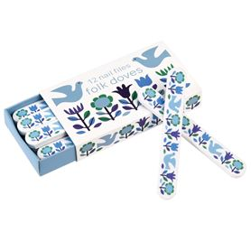 folk doves matchbox nail files (pack of 12)
