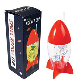 space age rocket cup and straw