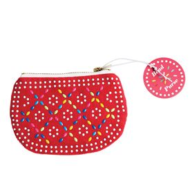 red beaded purse