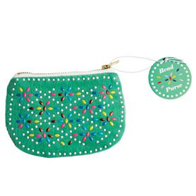 green beaded purse