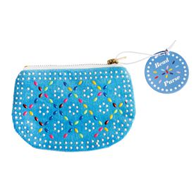 blue beaded purse