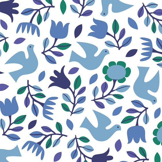 FOLK DOVES WRAPPING PAPER