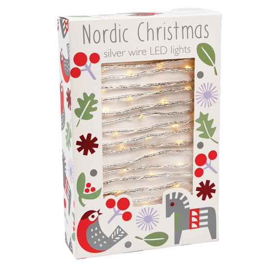 NORDIC CHRISTMAS SILVER WIRE LED LIGHTS