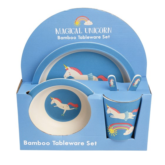 5-teiliges set kindergeschirr aus bambusfaser magical unicorn
