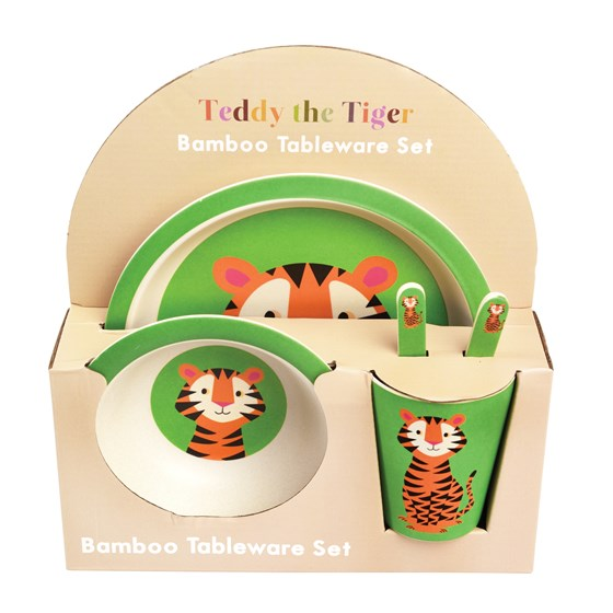 5-teiliges set kindergeschirr aus bambusfaser teddy the tiger