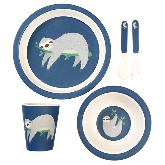 sydney the sloth bamboo tableware (set of 5)