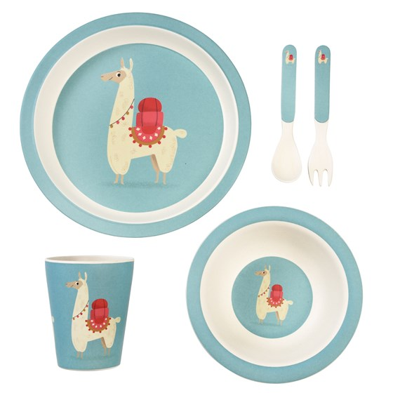 dolly llama bamboo tableware (set of 5)