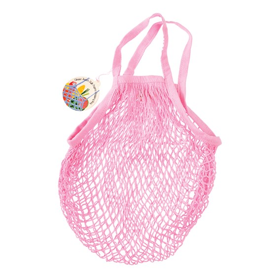 baby pink organic cotton string bag