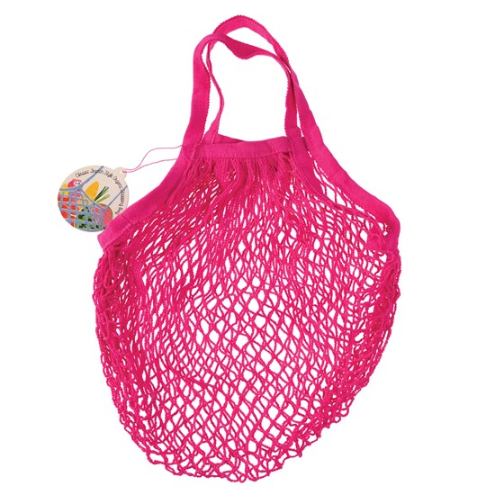 pink organic cotton string bag
