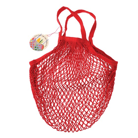 red organic cotton string bag