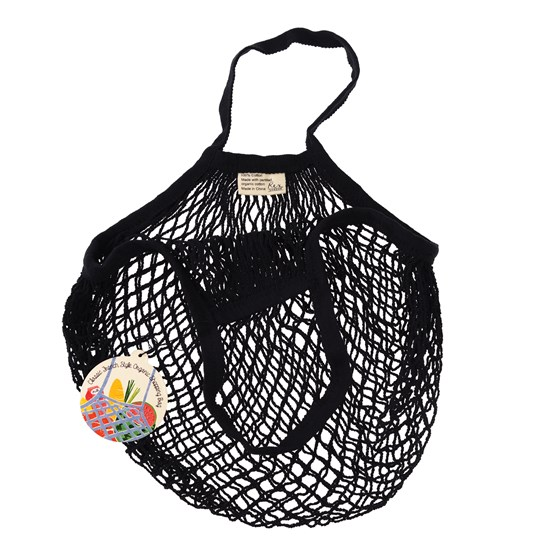 black organic cotton string bag