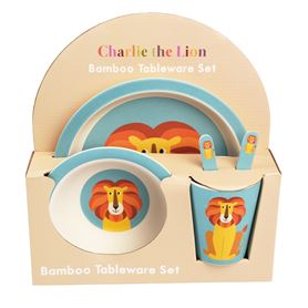 5-teiliges set kindergeschirr aus bambusfaser charlie the lion