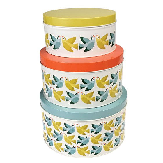 LOVE BIRDS ROUND TINS (SET OF 3)